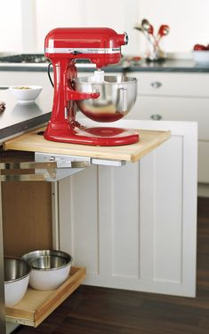 10 Snazzy Ways to Organize and Store Small Appliances: gallery image 5 Kitchen Corner, Red Kitchen, Kitchen And Bath, Kitchen Cupboard, Kitchen Organization, Kitchen Storage, Small Appliances, Kitchen Appliances, Corner Storage Unit