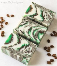Black Vetyver Cafe handmade soap, feathered in-the-pot swirl