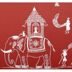 Warli men and women dancing to the 'tarpa' and other tribal instruments, in the witness of a royal procession. Rendered on a traditional red background, this is a beautiful work of art. Madhubani Art, Madhubani Painting, Worli Painting, Fabric Painting, Indian Folk Art, Indian Art Paintings, Elephant Art, Traditional Paintings, Monochrom