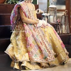 Mayan bride #shararadesigns Bridal Mehndi Dresses, Desi Wedding Dresses, Walima Dress, Shadi Dresses, Anarkali Dress, Bridal Lehenga, Indian Dresses, Asian Wedding Dress Pakistani, Pakistani Bridal Couture