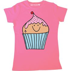 Mr Cupcake Womens Super Cute Printed Cupcake T-Shirt ($20) ❤ liked on Polyvore