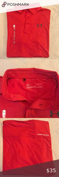 Red Under Armour Polo Light weight, heat wicking Polo. True red and great for summer. Under Armour Shirts Polos