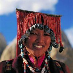 Tibetan woman in traditional costume. Guge Kingdom, Tsamda, Nagri, Tibet