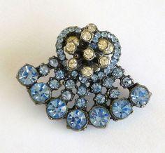 Vintage Blue Rhinestones Coat Lapel Pin