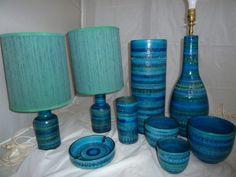 Pair Mid Century Aldo Londi Rimini Blu Bitossi Raymor Italian Pottery