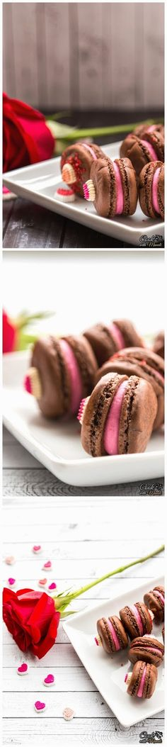 CHOCOLATE MACARONS WITH ROSE FILLING