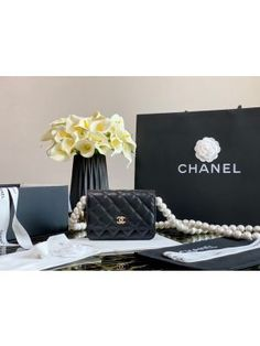 Chanel Wallet On Pearl Chain WOC in Calfskin AP1814 Black Chanel Backpack, Chanel Wallet, Chanel Purse, Chanel Bags, Gucci Bags, Prada Bag, Top Designer Bags, Designer Belts, Designer Handbags