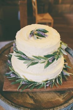 Lavender and Olive branch wedding cake
