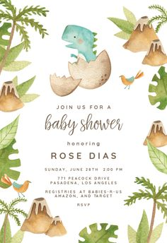 Dino adventure baby shower invitation template free botanical message from bump baby shower sign printable baby shower games fun baby shower games Free Baby Shower Invitations, Dinosaur Invitations, Baby Shower Printables, Safari Invitations, Baby Shower Templates, Invites, Juegos Baby Shower Niño, Invitaciones Baby Shower Niña, Baby Trivia