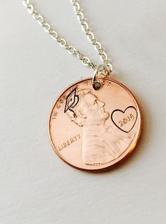 Hand Stamped Graduation Penny Necklace by UniquelyImprint on Etsy