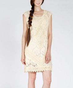 Take a look at this Vintage Ivory Lace Shift Dress by Champagne & Strawberry on #zulily today!
