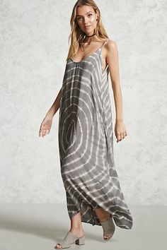 Forever 21 Contemporary - A maxi dress featuring adjustable cami straps, a scoop neck and back, a handkerchief hem, and an allover tie-dye pattern.