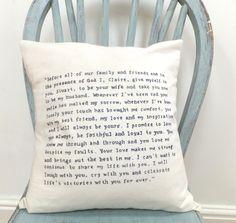 Wedding vows cushion-I want this! Wedding Vows, Diy Wedding, Wedding Gifts, Dream Wedding, Wedding Day, Wedding Stuff, Wedding Ideas Board, Cute Wedding Ideas, Perfect Wedding