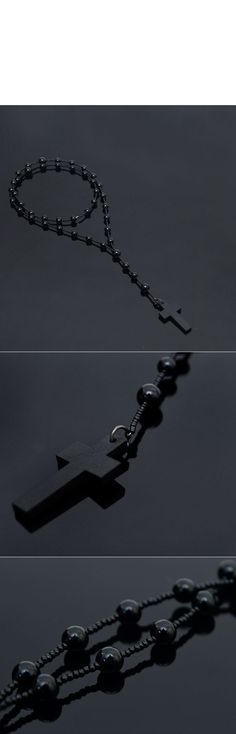 Accessories :: Dark Edge Wood Cross Beads-Necklace 178 - Mens Fashion Clothing For An Attractive Guy Look