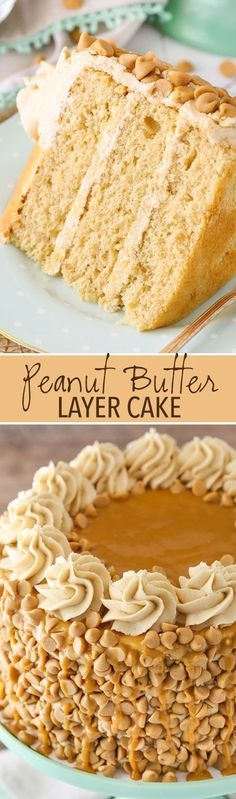 Peanut butter in the cake, frosting and decor! This Peanut Butter Layer Cake is loaded with peanut butter in the cake, frosting and decorations. It's a dream cake for any peanut butter lover! Peanut Butter Layer Cake Recipe, Peanut Butter Dessert Recipes, Coconut Dessert, Bon Dessert, Low Carb Dessert, Oreo Dessert, No Bake Desserts, Just Desserts, Delicious Desserts