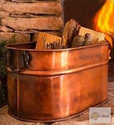 Antiqued Copper Firewood Holder Bucket Tub Indoor Outdoor Fireplace Hearth in Home & Garden, Home Improvement, Heating, Cooling & Air | eBay