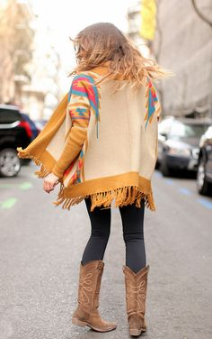 Mustard and ivory sweater, fringe, awesome, get in my closet now!