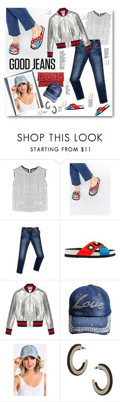 """""""112. Good Jeans"""" by milva-bg ❤ liked on Polyvore featuring dVb Victoria Beckham, Kat Maconie, Tommy Hilfiger, Gucci and Topshop"""