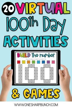 Easily plan a fun and engaging virtual 100th Day of School with these digital 100th Day of School activities for Kindergarten and First Grade! These virtual 100th Day activities are no prep, so they can be completed during remote instruction, as well as in-person learning. To help target academic skills, these 100th Day ideas integrate reading, writing and math. Plus, there are fun 100th Day games and a 100th Day directed drawing! #100thday #100thdayofschool #100thdayactivities… 1st Grade Activities, Kindergarten Math Activities, Kindergarten Classroom, Writing Activities, Winter Activities, Classroom Ideas, 100 Day Of School Project, 100 Days Of School, First Day Of School