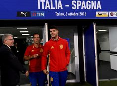 Alvaro Morata of Spain walk out to inspect the pitch prior to the FIFA 2018 World Cup Qualifier between Italy and Spain at Juventus Stadium on October 6, 2016 in Turin, Italy.