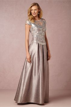 Silver beaded lace bodice  ballgown for mother of the bride Chelsea Dress @BHLDN