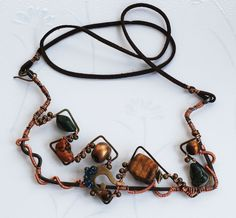 Tiger's Eye Howlite Nugget Polymer Sequin Wire Wrap Artisan Geometric Necklace #Jeanninehandmade #Wrap