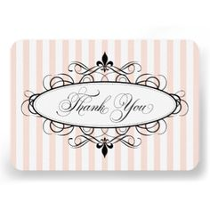 These stylish French inspired thank you note cards feature decorative script calligraphy, scrolling flourishes, fleur de lis design elements, chic pink stripes, and space for a personal message on the back side of the card. Feminine and elegant white, light blush / peach pink and black color scheme. #shower #french #france #paris #theme #vintage #thank #you #fleur #de #lis #chic #girly #elegant #parisian #feminine #script #stripes #pretty