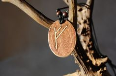 """Fehu rune necklace """"Blessing and prosperity"""" charm. Marquetry Oak & Mahogany wood by RunicJewellery on Etsy Marquetry, Runes, Blessing, Charms, Buy And Sell, Magic, Wood, Handmade, Stuff To Buy"""