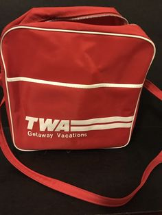 Red TWA Airline Flight Bag Vintage 70's Weekender Overnight 12 x 12 #TWAAirlines #ShoulderBagOvernighterFlightBag #Sleepovertraveldaytrip