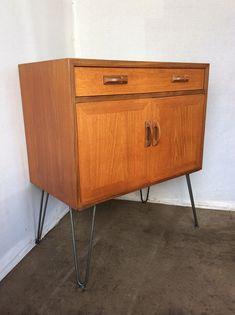 Mid Century 1960s Gplan Teak Cupboard Drawer Unit On Hairpin Legs, Small  Mid Century Gplan