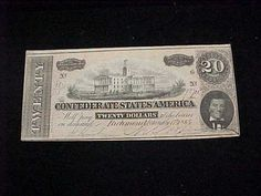 1864 $20 Confederate Currency States of America Original Priced 2 Sell | eBay