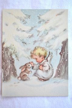 Vintage Christmas Card   Baby Angel and Snow von Pumpkintruckpaper