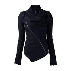 Rotita Black Long Sleeve Zipper Closure Jacket (41 NZD) ❤ liked on Polyvore featuring outerwear, jackets, tops, coats, coats & jackets, black, print jacket, black zipper jacket, black jacket and long sleeve jacket