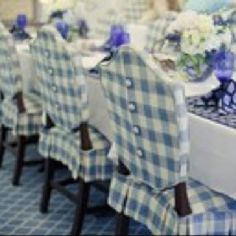 the gingham slipcovers.with the buttons down the back.perfect for my dining room chairs! Dining Room Chair Slipcovers, Dining Room Chairs, Dining Room Chair Covers, Slip Covered Dining Chairs, Office Chairs, Chair Cushions, Dressing Design, Blue Gingham, Gingham Check