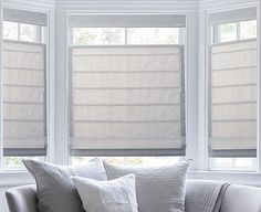 Pleated Roman Shades in color Captiva Bone<br>Top Down Bottom Up