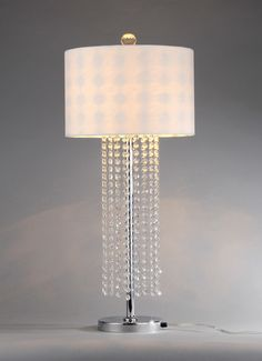"31"" Contemporary Silver White Crystal Bead Table Lamp Modern Decor"