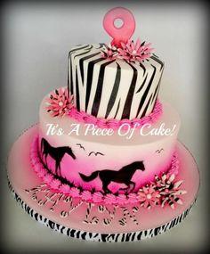 Zebra Print and Horse Cake www.facebook.com/ItsAPieceofCakeWV