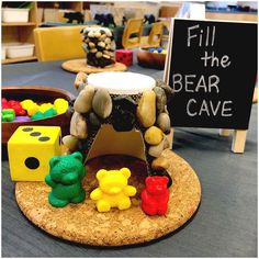 Fill the bear cave! A simple math game that reinforces our learning during our Animals in Winter / Hibernation Inquiry. Roll the die, fill your cave with that number of bear counters. First player to fill their cave first, wins OR first player to empty their bowl of bears first, wins! Counting Activities Eyfs, Maths Eyfs, Math Games, Toddler Activities, Kindergarten Inquiry, Preschool Science, Animals That Hibernate, Toddler Classroom, Simple Math