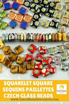 ?? ?Squarelet Square Sequins Paillettes Czech Glass Beads  Rare Beads - Glass Sequins! - Buy now with discount! www.CzechBeadsExclusive.com/+squarelet  Hurry up - sold out very fast! SAVE them! #czechbeadsexclusive #czechbeads