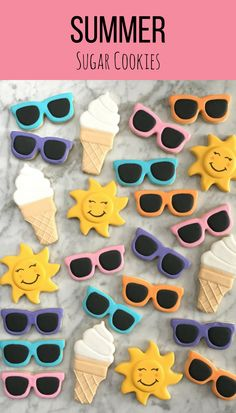 Ice Cream & Sunglasses Decorated Cookies - One Dozen #affiliate Birthday Party Favors