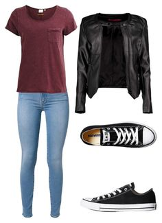 A fashion look from August 2015 featuring scoop neck tee, motorcycle jackets and 7 for all mankind jeans. Browse and shop related looks. Clueless Outfits, Teen Fashion Outfits, Cute Fashion, Look Fashion, Outfits For Teens, Casual School Outfits, Casual Fall Outfits, Trendy Outfits, Cool Outfits