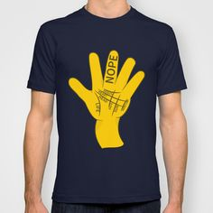 A cartoon hand, palm out showing the lines of palmistry. The life Line, Head Line, Heart Line, Fate line, Mercury and Girdle of Venus line. The word nope is written on the naughty finger. t-shirt