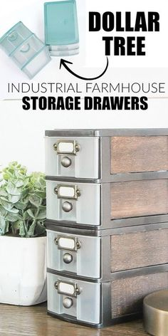 WOW, this transformation is unbelievable! Inexpensive Dollar Tree storage drawers get an impressive industrial farmhouse makeover! #dollartree #modernfarmhouse #homedecor #storage www.littlehouseoffour.com Industrial Home Design, Vintage Industrial Furniture, Industrial Farmhouse, Industrial House, Kitchen Industrial, Industrial Storage, Modern Farmhouse, French Farmhouse, Rustic Industrial