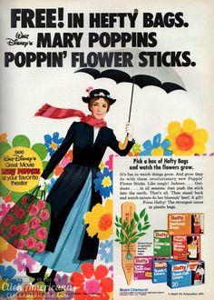 Walt Disney's Mary Poppins Poppin' Flower Sticks Retro Ads, Vintage Advertisements, Vintage Ads, Vintage Images, Vintage Prints, Vintage Posters, Old Disney, Vintage Disney, Disney Art
