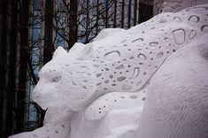 Snow sculpture at the annual Sapporo Snow Festival in Japan. Snow Sculptures, Sculpture Art, Concrete Sculpture, Metal Sculptures, Abstract Sculpture, Bronze Sculpture, Ice Art, Snow Art, Sapporo