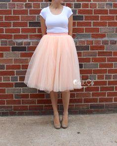 Claire - Blush Peach Tulle Skirt, Soft Tulle Skirt, Tea Length Tulle Skirt, Midi Tutu, Adult Tutu, Bridal Skirt, Bridesmaids Skirt