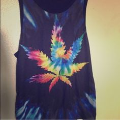 Weed leaf pot marijuana rave t shirt tank tie dye I'm a size small fits like a medium not fitted at all 8-10 fabric quality not unif UNIF Tops Tank Tops