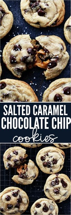 Salted Caramel Stuffed Chocolate Chip Cookies are the most perfect and soft chocolate chip cookies stuffed with ooey gooey caramel and topped with sea salt! No chilling required!!