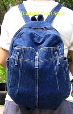 Vintage Recycled Denim Jeans Backpack  .........cute!