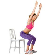 Grab a chair to do this simple chair squat move to work your legs and butt. #fitness | Health.com